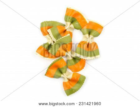 Farfalle Pasta With Green Spinach And Orange Carrot Isolated On White Background Top View Set Raw Cl