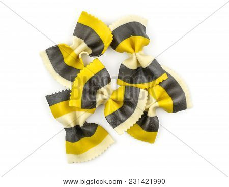 Farfalle Pasta With Curcuma And Cuttlefsh Ink Isolated On White Background Top View Set Raw Classic
