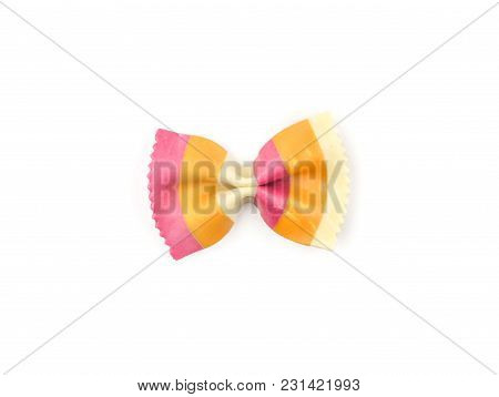 Farfalle Pasta With Orange Carrot And Red Beetroot Isolated On White Background Top View One Raw Cla