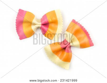 Farfalle Pasta With Orange Carrot And Red Beetroot Isolated On White Background Top View Two Raw Cla