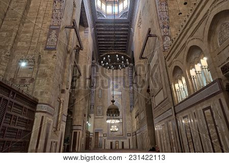 Cairo, Egypt - December 16, 2017: Interior Of Al Refai Mosque With Old Decorated Bricks Stone Wall,
