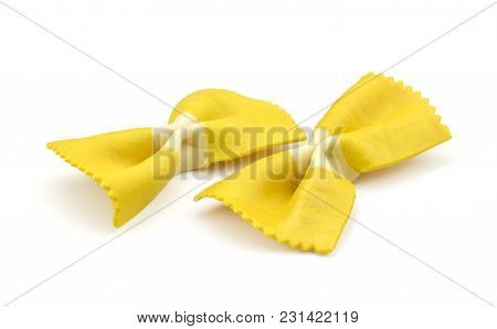 Farfalle Pasta With Curcuma Isolated On White Background Raw Classic Traditional Italian Yellow Two