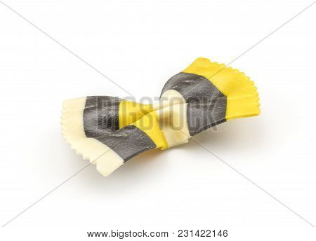 Farfalle Pasta With Curcuma And Cuttlefsh Ink Isolated On White Background One Raw Classic Tradition
