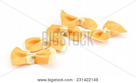 Farfalle Pasta With Orange Carrot Isolated On White Background Five Raw Classic Traditional Italian