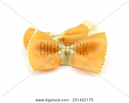 Farfalle Pasta With Orange Carrot Isolated On White Background Raw Classic Traditional Italian Two P