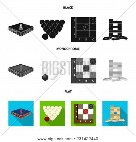 Board Game Black, Flat, Monochrome Icons In Set Collection For Design. Game And Entertainment Vector