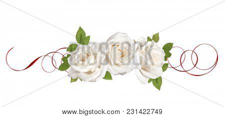 three white rose flowers with red ribbon isolated on white background cutout