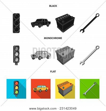 Traffic Light, Old Car, Battery, Wrench, Car Set Collection Icons In Black, Flat, Monochrome Style V