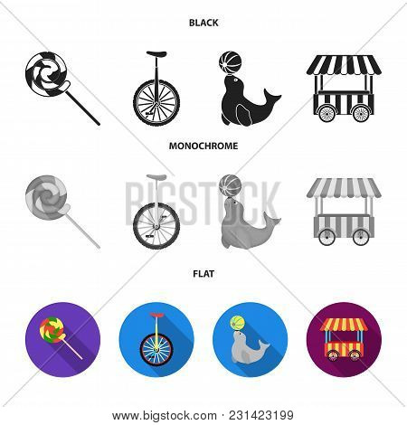 Lollipop, Trained Seal, Snack On Wheels, Monocycle.circus Set Collection Icons In Black, Flat, Monoc
