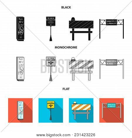 Stands And Signs And Other  Icon In Black, Flat, Monochrome Style.limiters Of Traffic Icons In Set C