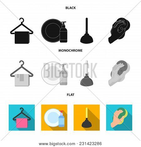 Cleaning And Maid Black, Flat, Monochrome Icons In Set Collection For Design. Equipment For Cleaning