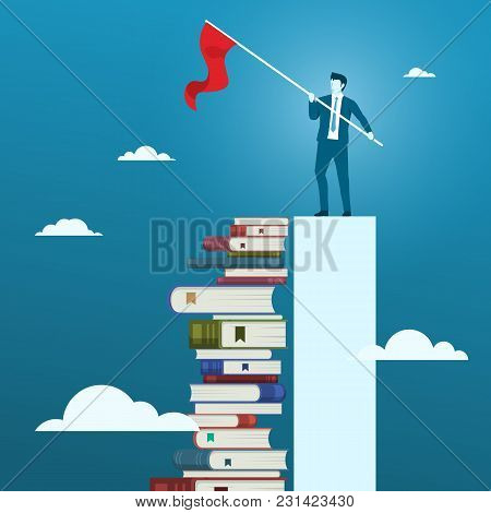 Businessman With A Target Goal Flag. Concept Of Reading Will Improve Businessman Business Skill Or K