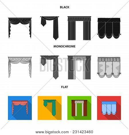 Different Types Of Window Curtains.curtains Set Collection Icons In Black, Flat, Monochrome Style Ve