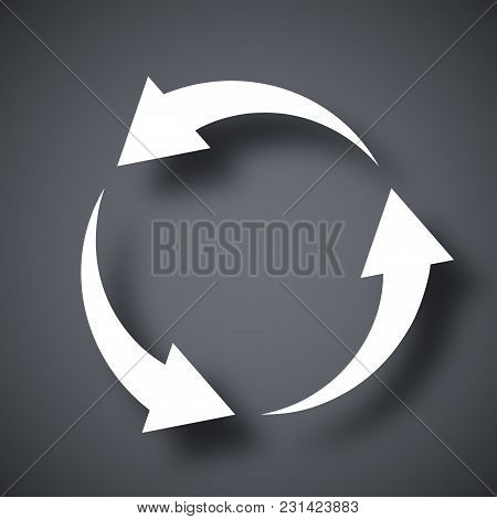 Vector Recycle Icon On Dark Gray Background With Shadow