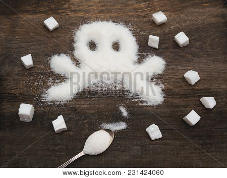 Skull Made Of Granulated Sugar. A Conceptual Photo Illustrating The Harm From Consuming White Refine