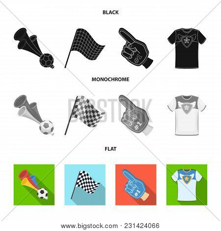 Pipe, Uniform And Other Attributes Of The Fans.fans Set Collection Icons In Black, Flat, Monochrome