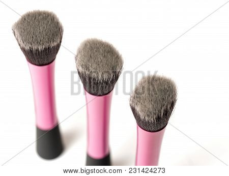 Cosmetic Stippling Brush Used For Applying Makeup On Face. Selective Focus