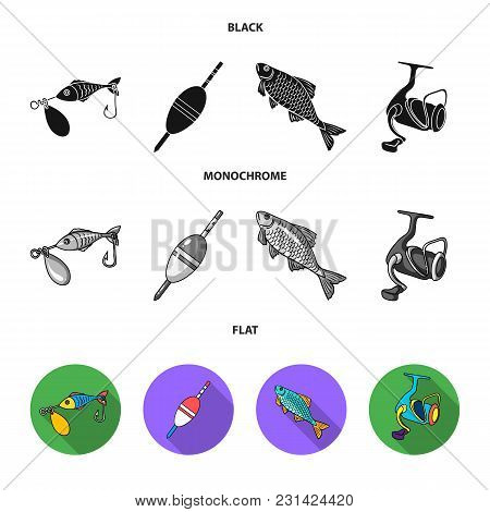 Fishing, Fish, Catch, Hook .fishing Set Collection Icons In Black, Flat, Monochrome Style Vector Sym