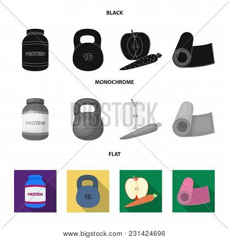 Protein, Vitamins And Other Equipment For Training.gym And Workout Set Collection Icons In Black, Fl