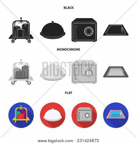 Trolley With Luggage, Safe, Swimming Pool, Clutch.hotel Set Collection Icons In Black, Flat, Monochr