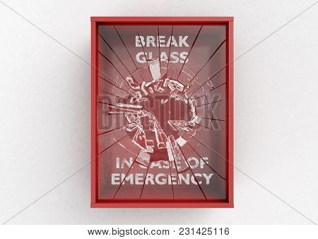 An Empty Red Emergency Box With A Shattering In Case Of Emergency Breakable Glass On The Front On An