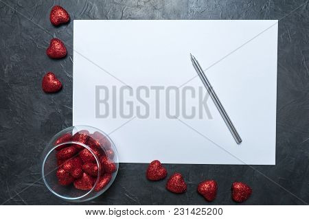 A Blank Sheet Of Paper On A Dark Background. Love Letter. Place For Your Text...