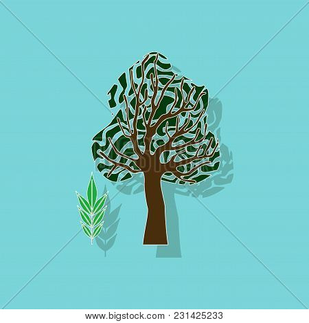Paper Sticker On Stylish Background Of Plant Fraxinus