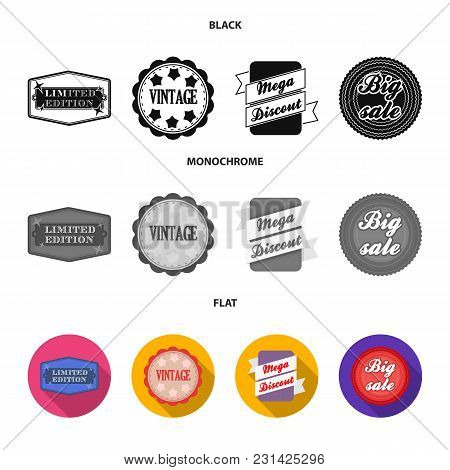 Limited Edition, Vintage, Mega Discont, Dig Sale.label, Set Collection Icons In Black, Flat, Monochr