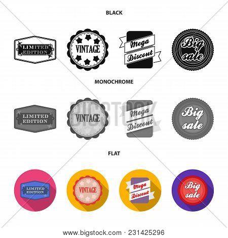 Limited Edition, Vintage, Mega Discont, Dig Sale.label, Set Collection Icons In Black, Flat, Monochr