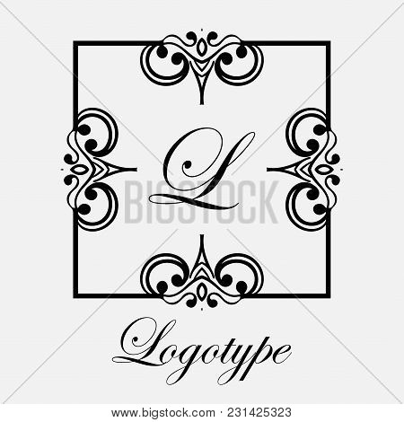 Vintage Ornamental Logo Monogram. Retro Luxury Frame For Design With Swirl Elements And Place For Le