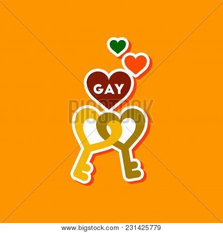 Paper Sticker On Stylish Background Gays Keys Love