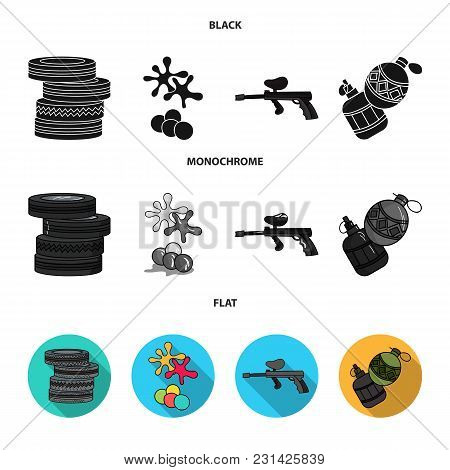 Competition, Contest, Equipment, Tires .paintball Set Collection Icons In Black, Flat, Monochrome St
