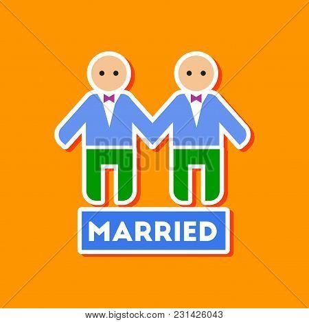 Paper Sticker On Stylish Background Gays Newlyweds Wedding