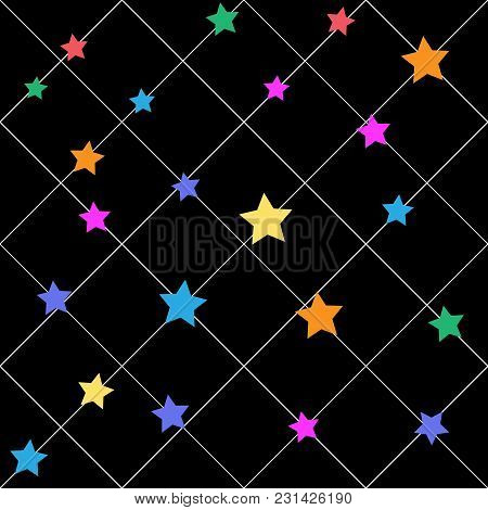 Star On Line Seamless Pattern. Fashion Graphic Design. Modern Stylish Abstract Texture. Colorful Tem