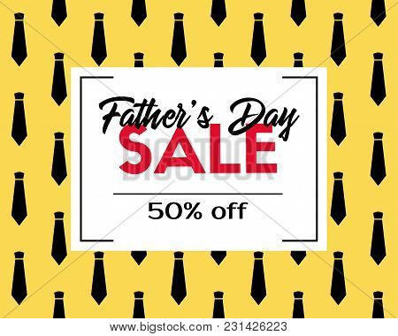 Father's Day Sale. Vector Discount Template