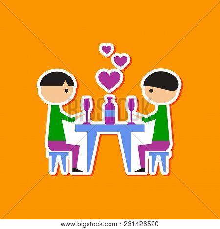 Paper Sticker On Stylish Background Gays Romantic Dinner