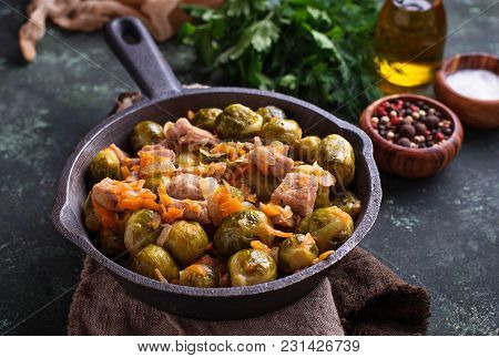 Roasted Brussels Sprouts With Meat. Selective Focus