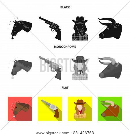 Head Of A Horse, A Bull's Head, A Revolver, A Cowboy Girl. Rodeo Set Collection Icons In Black, Flat