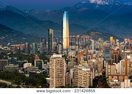 Panoramic View Of Providencia And Las Condes Districts At Sunset, Santiago De Chile