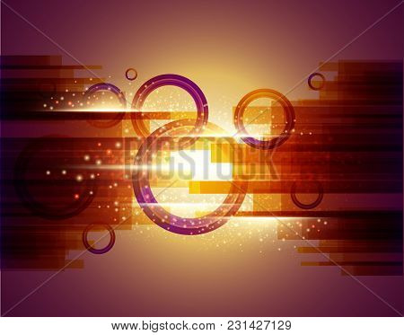 Abstract Background With  Colored Circles And Glowing Dots. Vector