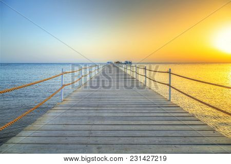 Sunrise at the pier of Red Sea in Hurghada, Egypt