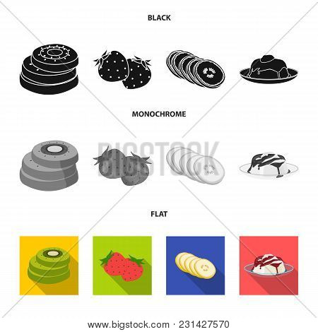 Fruits And Other Food. Food Set Collection Icons In Black, Flat, Monochrome Style Vector Symbol Stoc