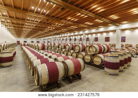Bordeaux , France - May 10 , 2017 : Wines Fermenting In Traditional Large Oak Barrels In The Wine Ce