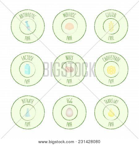 Vector Grunge Hand Drawn Collection Of Icons, Intolerance, Allergens And  Harmful Food Symbols. Set