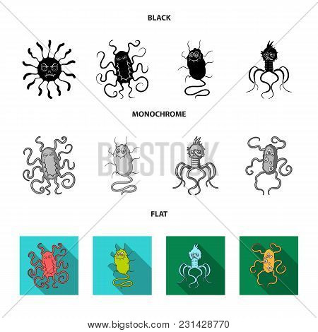 Different Types Of Microbes And Viruses. Viruses And Bacteria Set Collection Icons In Black, Flat, M