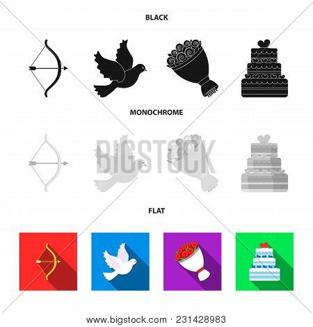 Arrow Cupid, Dove, Bouquet Of Flowers, Wedding Cake. Wedding Set Collection Icons In Black, Flat, Mo