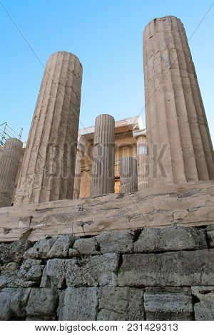 Athens, Geeece - September 21, 2012: This Is A Fragment With Columns Of Propylaea Of The Acropolis O