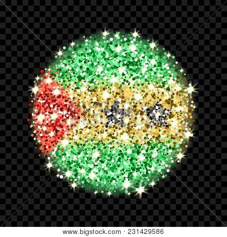 Democratic Republic Of Sao Tome And Principe Flag Sparkling Badge. Round Icon With Saotomean Nationa