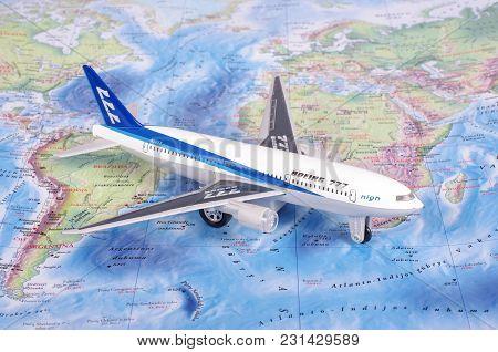 Kaunas, Lithuania - November 05, 2017: Boeing 777 Model On The World Map. Travel Concept.