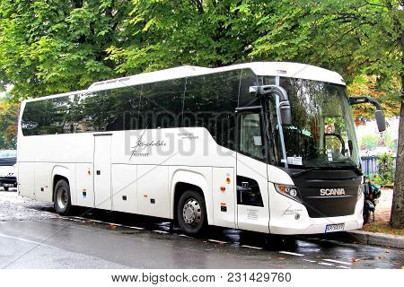 Paris, France - August 8, 2014: Touristic Coach Bus Scania Touring (higer A80t) In The City Street.